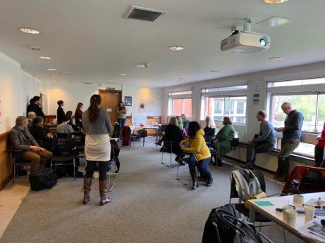 Gandolfi designing games at the York April 2019 workshop.